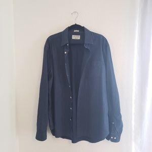 Lucky Brand Navy Dots Button Down Shirt X-Large